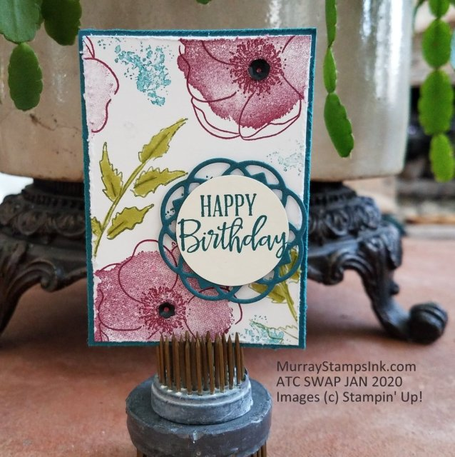Painted Poppies in shades of Merry Merlot and Mossy Meadow