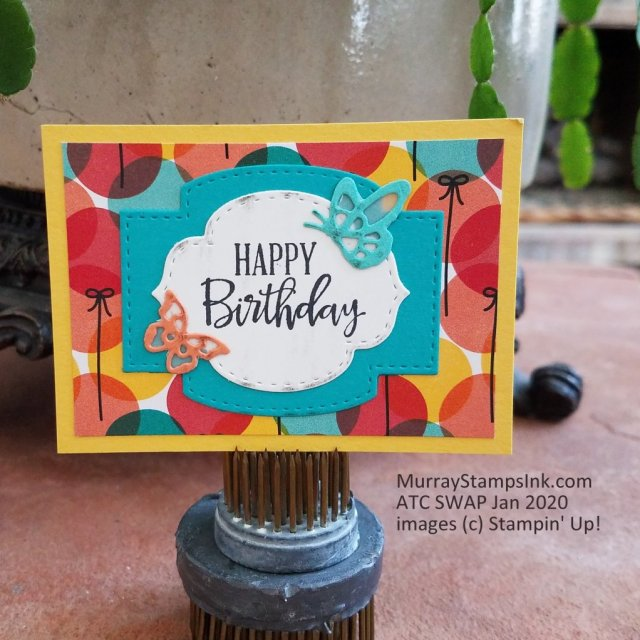 Stitched So Sweetly dies are layered to create a birthday themed Artist Trading Card.