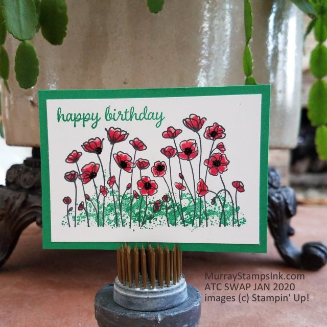 Painted Poppies stamp set with Black Shimmery embossing powder accent.