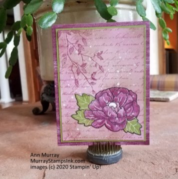 Combined with Pressed Petals DSP, Very Versailles stamp set, black Journaling Marker and white gel pen.