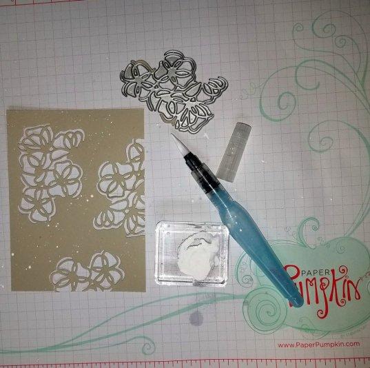 Layout of poppy stencil & white splatters