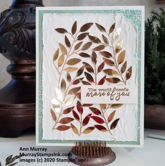 Gold foil leaves on card