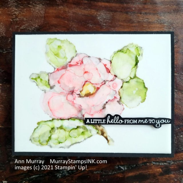 Painting with Stampin' Blends and alcohol on the magnolia outline