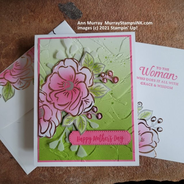 add ink using brushes to foil paper then fussy cut and layer on a card panel