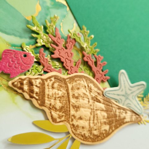 embossed shell adds dimension to cluster of seaweed