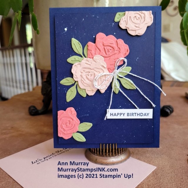 navy card with layer blooms
