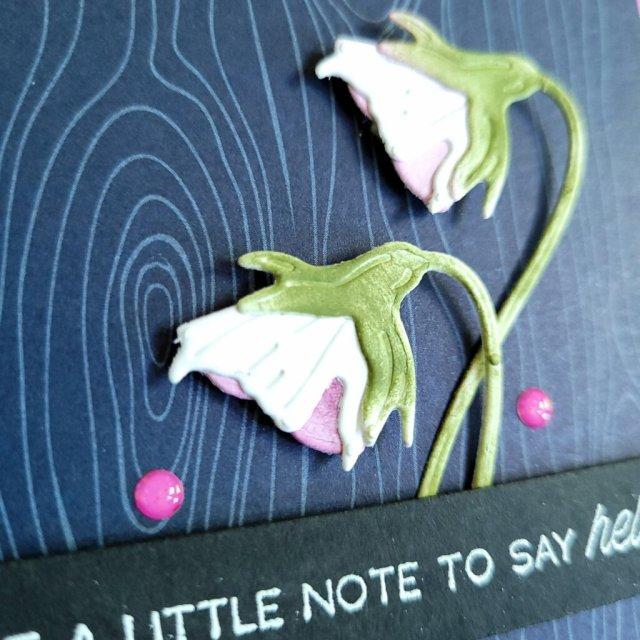 pansy blossom layered under sentiment strip