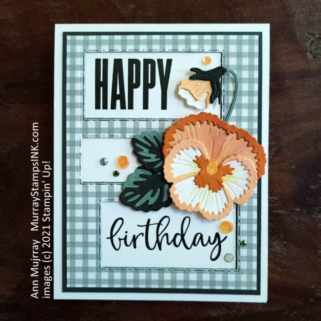 pansy birthday card with die-cut openings for the sentiment