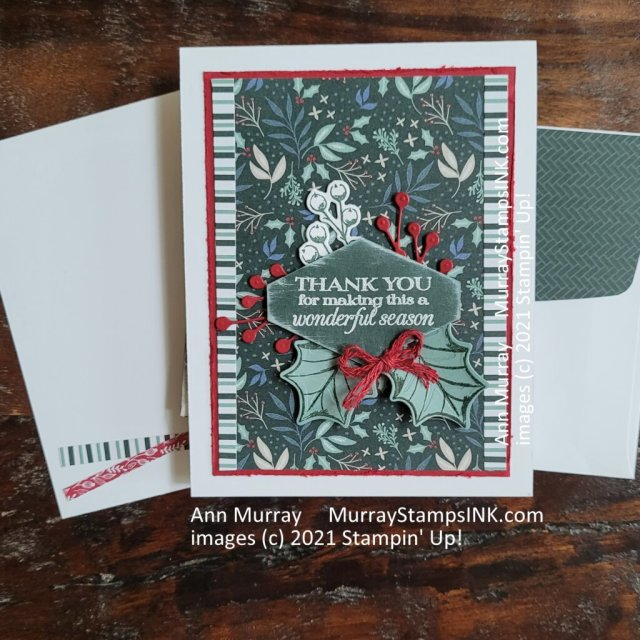 Holiday Thank You card using patterned paper background