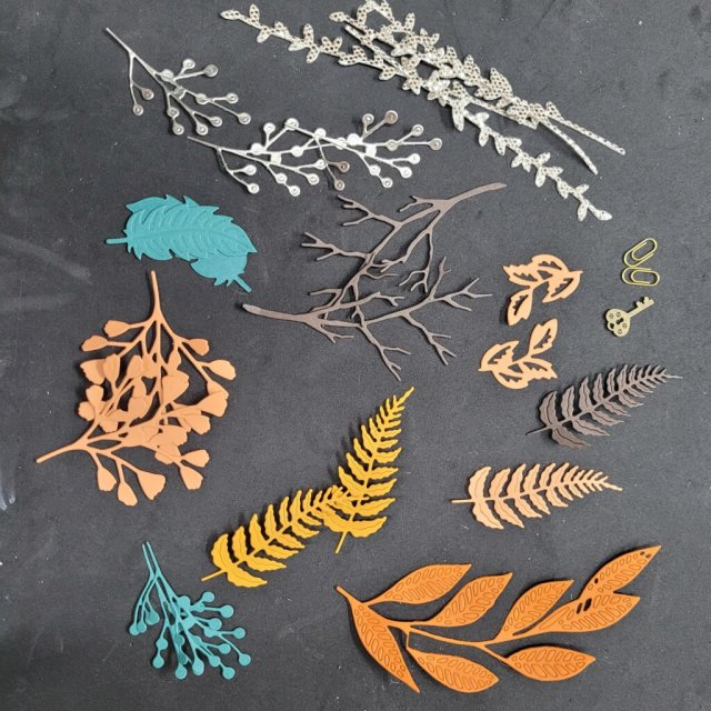 foliage die-cuts ready for assembly