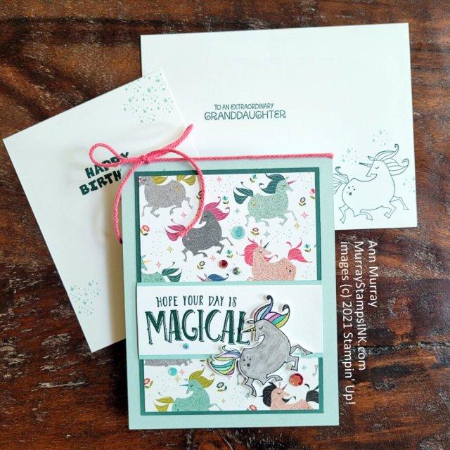 unicorn theme birthday card