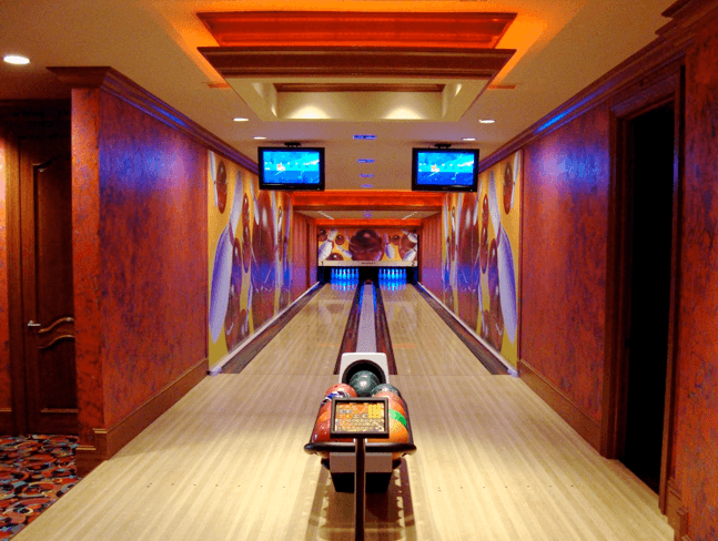 Custom 2 lane home bowling alley of Nicholas Sparks