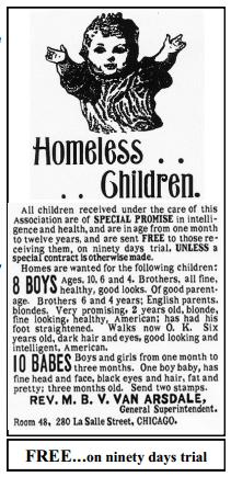 Cartel que anuncia la llegada del tren con los huérfanos. En busca de un hogar.
