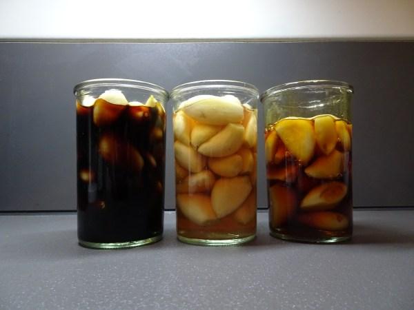 ニンニク醤油漬け、かつお節入り梅酢漬け、はちみつ漬け