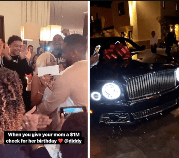 Diddy gives his mom a brand new Bentley and $1million during her lavish 80th birthday party (video)