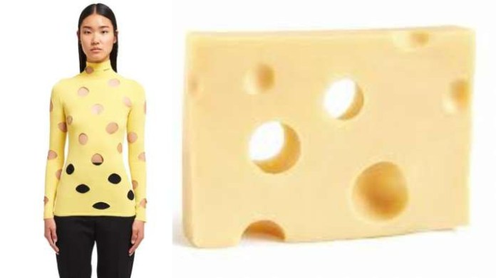 Reactions after Prada releases ?905 yellow turtlenecks with holes that makes it look like Swiss cheese (photos)