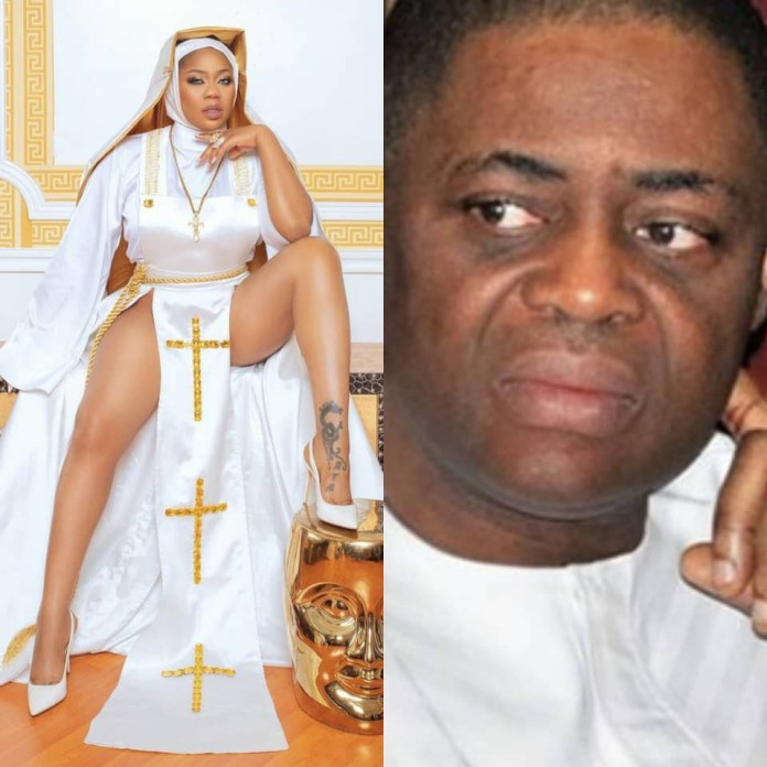 This is anti-christ and Ghetto Rubbish - FFK slams fashion designer, Toyin Lawani, over her racy nun outfit