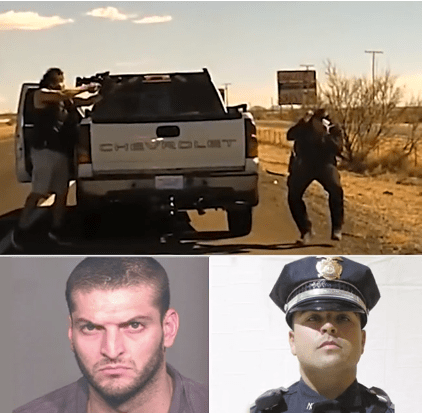 Drug dealer executes US cop during traffic stop in broad daylight before he was shot dead by other officers after a 40-mile chase (video)
