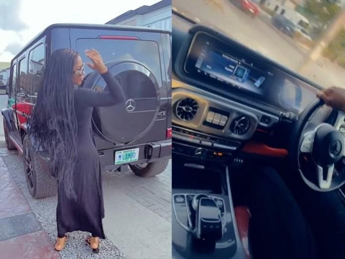 Reality star, Mercy Eke adds a Mercedes G-Wagon to her garage ?(Video)