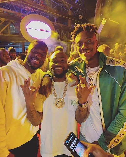 Davido with Fikayo Tomori and Tammy Abraham clubbing in Lagos