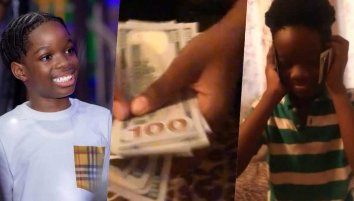 Reactions as Wizkid's son flaunts N1M gift from his father (Video)
