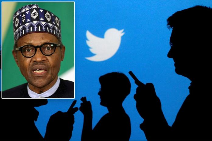 After deleting a threatening post from Nigerian President Muhammadu (inset), the West African nation suspended it's use of the social media app.
