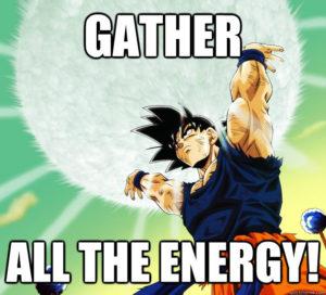 goku showing high energy levels