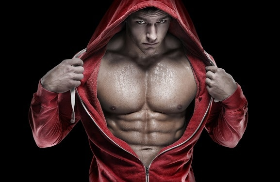 lean six pack abs on man