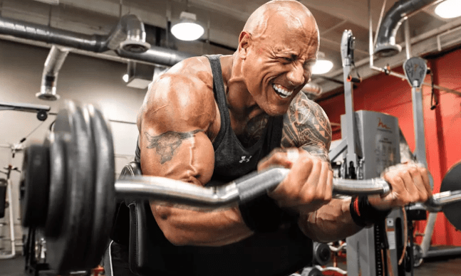 dwayne johnson biceps