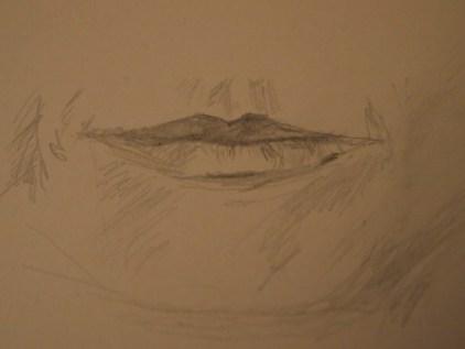 Lippen, , Zeichnung Bleitstift