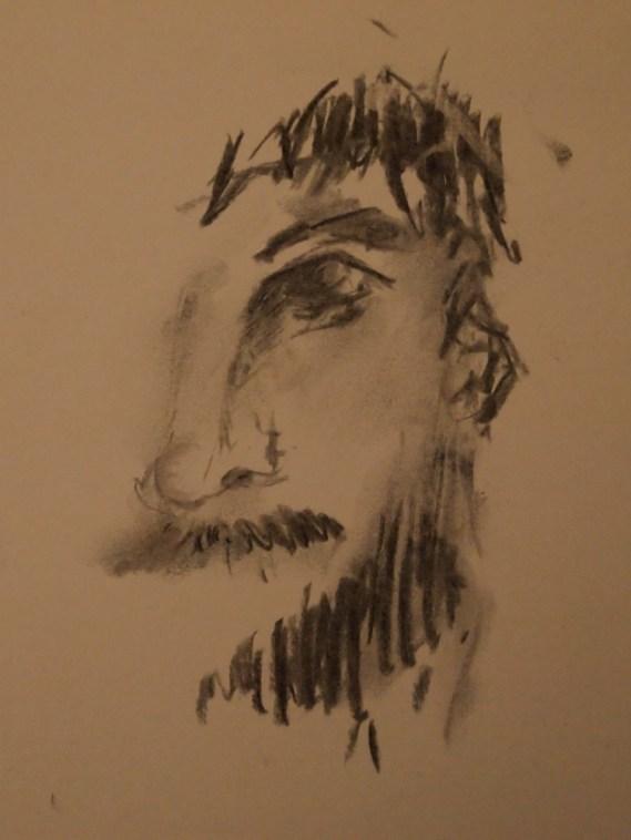 Portrait, Zeichnun, Kohle