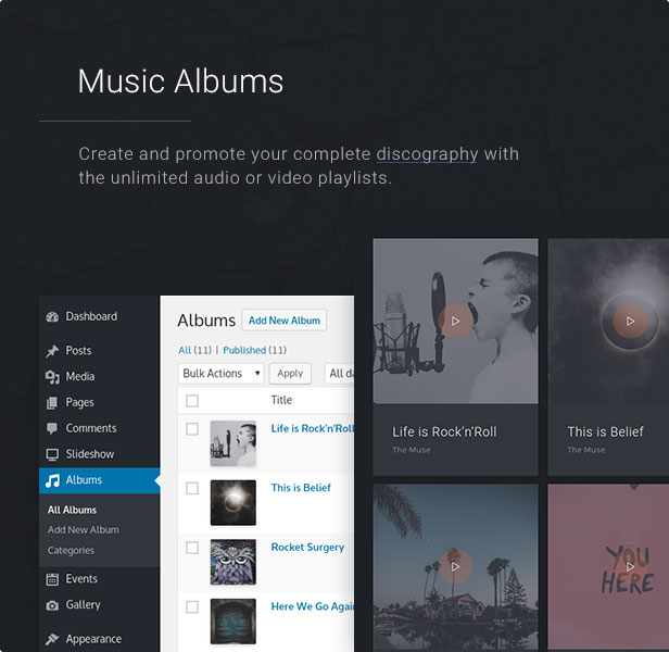 Music Albums: Create and promote your complete discography with the unlimited audio or video playlists. 19659027] Tour & Events: Organize and promote your tour, concerts, performances or events and attract new or existing fans.