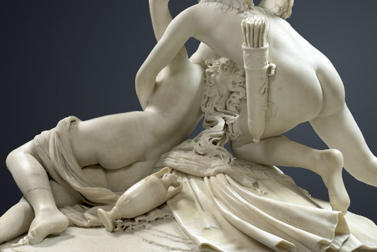Antonio CANOVA (1757 – 1822)<br/><i>Psyche Revived by Cupid's Kiss</i><br/>Back view<br/>Marble - H. 1.55 m; L. 1.68 m; D. 1.01 m<br/>MR 1777<br/>Paris, Musée du Louvre