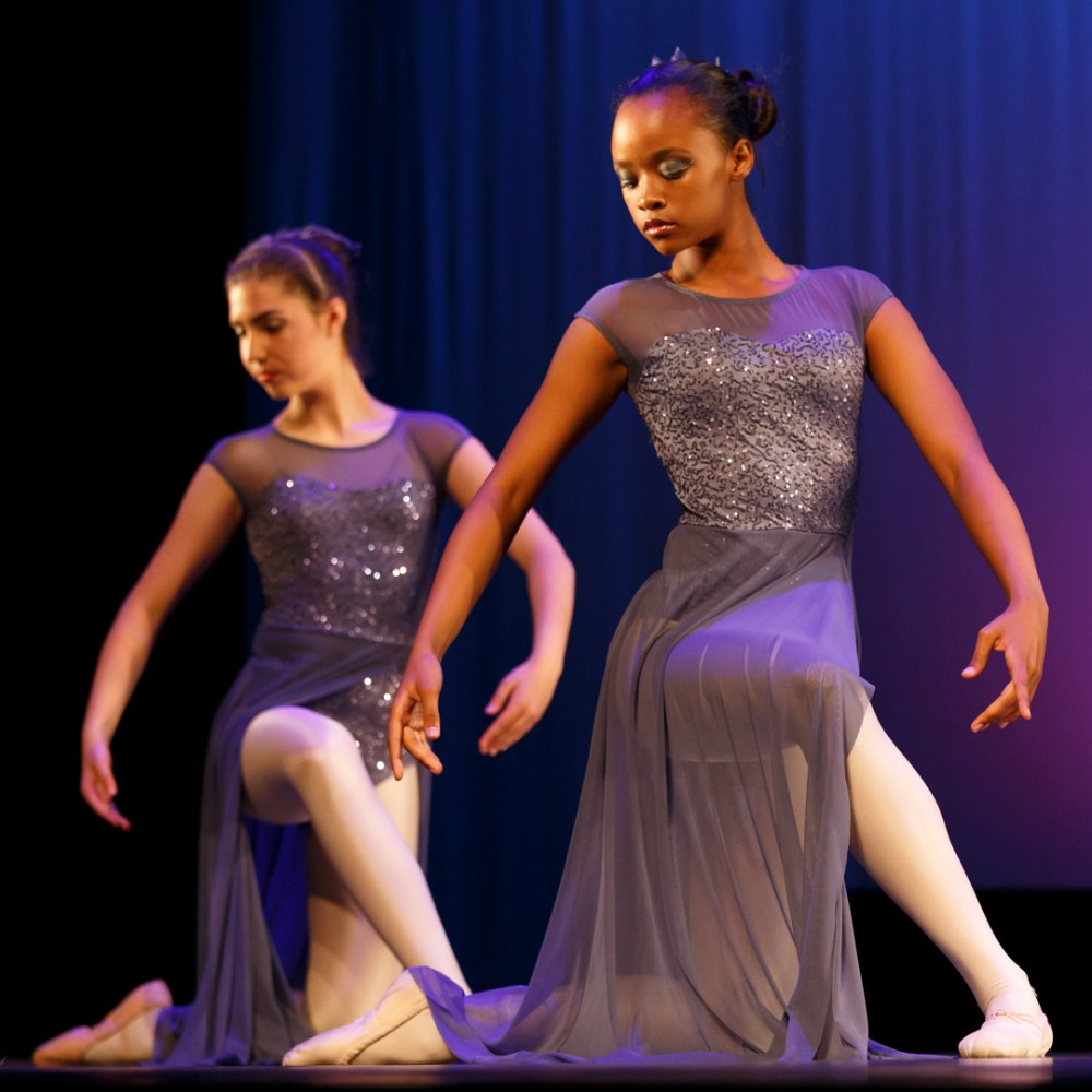 young ballerinas synchronizing movements