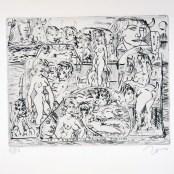 16. Tono Zancanaro, Taidona Akreidea, acquaforte, incisione mm196x245, foglio mm350x500, 1965