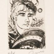25. Tono Zancanaro, Apollo, acquaforte, incisione mm70x50, foglio mm175x250, 1965