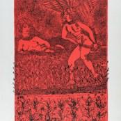 40. Tono Zancanaro, La bella Aurora e l'angel, litografia, mm695x500, 1966
