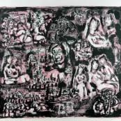 68. Tono Zancanaro, Autopresentazione dantesca, litografia, mm700x830, 1966