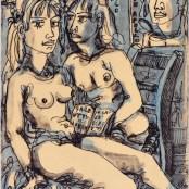 74. Tono Zancanaro, Mostra personale, Io Francesca, io Paolo, litografia, mm497x260, 1966