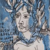 78. Tono Zancanaro, Io il buon Apollo di Dante, litografia, mm155x103, 1966