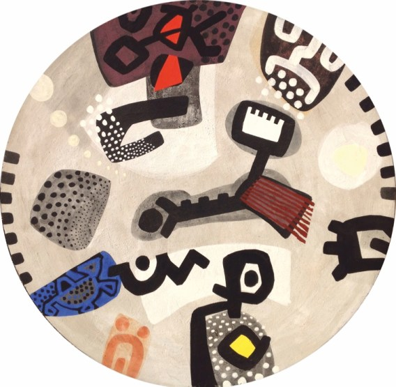 """Paolo Valle, """"I musicanti di Brema"""" (2016 olio su tela, diam. cm 124)"""