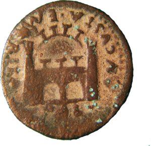 Moneda romana con el escudo de Emérita Augusta