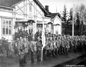 Mäntyharjun valkoisia Mikkelissä vuonna 1918. Kuva: Mäntyharjun museo.