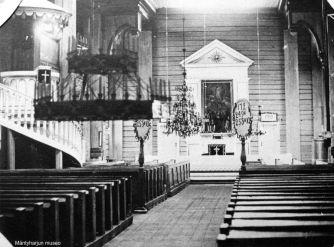 Mäntyharjun kirkko sisältä 1920-luvulla. Kuva: Mäntyharjun museo.