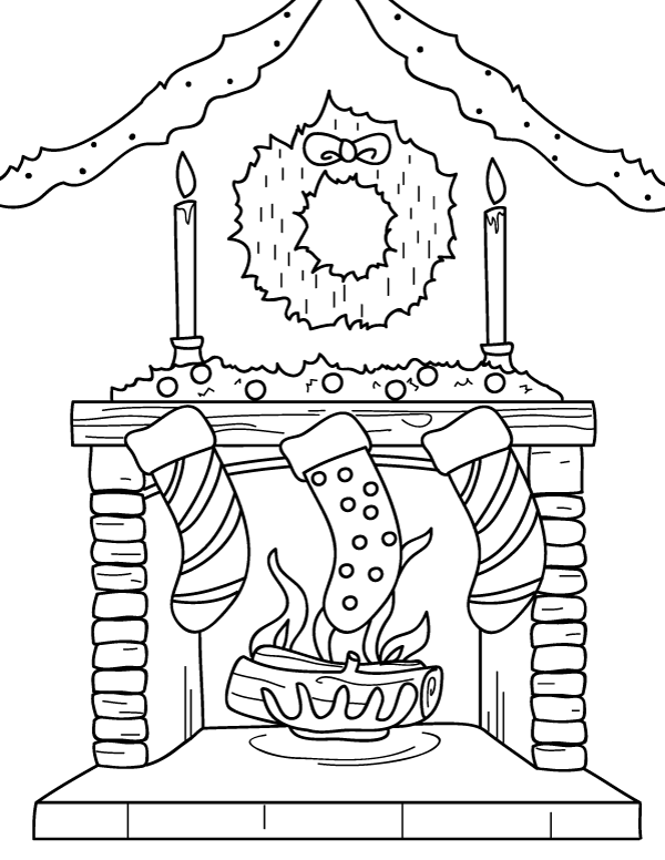 Printable Christmas Stocking Coloring Page