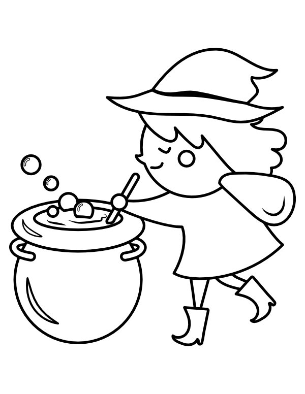 printable cute witch stirring cauldron coloring page