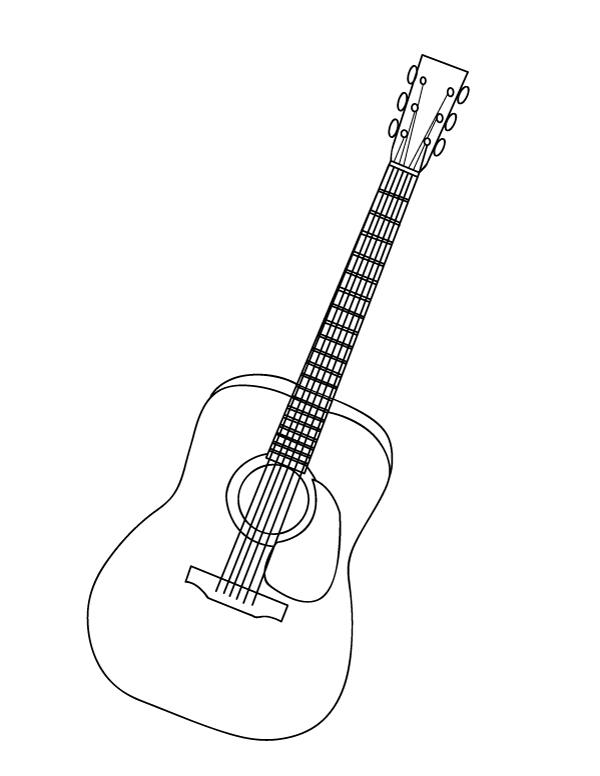 Printable Guitar Coloring Page