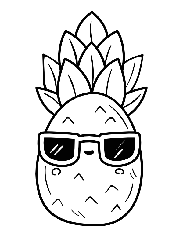 Printable Kawaii Summer Pineapple Coloring Page