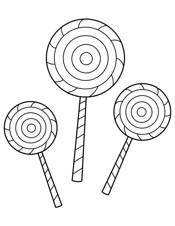 printable three lollipop coloring page
