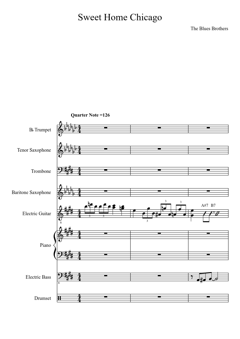 With ultimate guitar pro you can. Sweet Home Chicago The Blues Brothers Sheet Music For Piano Trombone Trumpet Mixed Trio Musescore Com